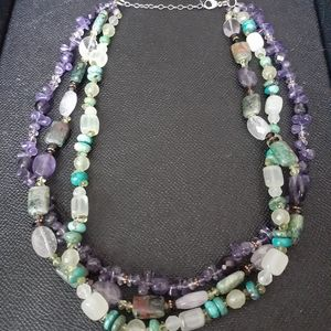 3 strand polished stone necklace